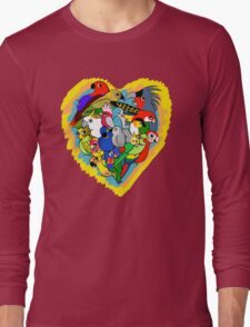 I heart parrots cute cartoon Long Sleeve T-Shirt