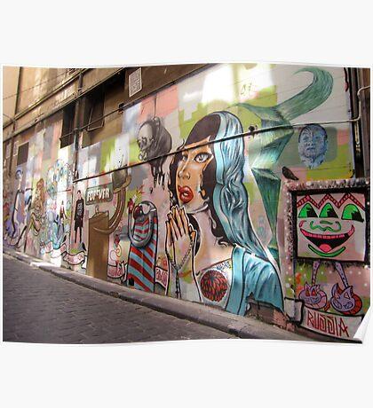 Hosier Lane graffiti Poster