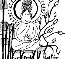 Buddha Love - Monochrome! by woodledoodle