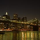 brooklyn bridge night reflections by marianne troia