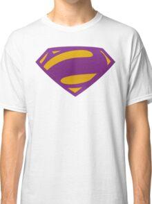 Man Of Steel Bizarro Purple Textured Logo Classic T-Shirt