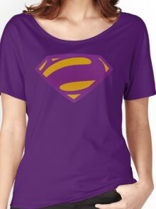 Man Of Steel Bizarro Purple Textured Logo Women's Relaxed Fit T-Shirt