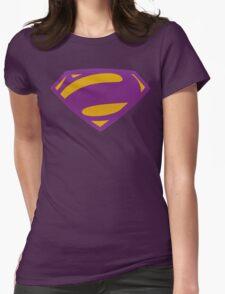 Man Of Steel Bizarro Purple Textured Logo Womens Fitted T-Shirt
