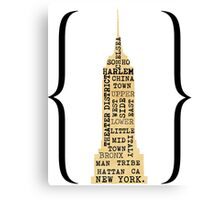 NEW YORK Empire State Typography  Canvas Print