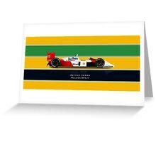Ayrton Senna - McLaren MP4/4 with Helmet colours Greeting Card
