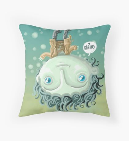 cute zombie in the water Throw Pillow