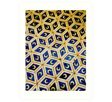 Moon Tiled Geometric Pattern - Cathedral Floor in Sienna, Italy Art Print