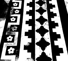Black & White Marble Tiled Floor of Italian Cathedral  by WildTangles