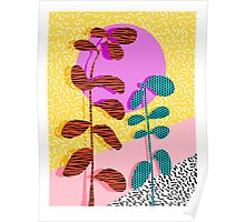 Homefry - floral neon memphis dots grid pink sunset sunrise 1980 1980s 1980's 80s 80's throwback art Poster