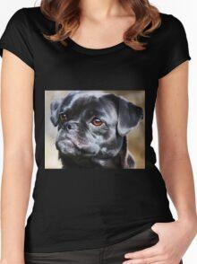 """Pug Mug"" Women's Fitted Scoop T-Shirt"
