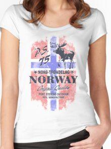 Moose - Norway Flag - Vintage Look Women's Fitted Scoop T-Shirt
