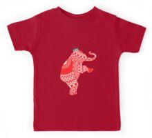 Cute Whimsy Elephant Orange Fancy Pattern Kids Tee