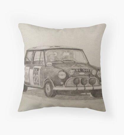 Classic Mini Cooper Rally Car Throw Pillow