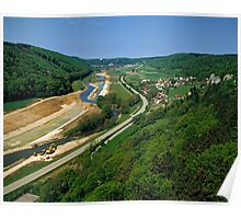 Construction of Main Danube Canal in Altmuehltal, Bavaria, Germany. Poster