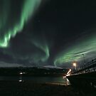Wooden brigde with Aurora Borealis, Tromsoe, Norway by Frank Olsen