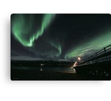 Wooden brigde with Aurora Borealis, Tromsoe, Norway Canvas Print