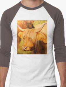 Highland Cow oil painting Men's Baseball ¾ T-Shirt