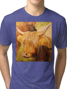 Highland Cow oil painting Tri-blend T-Shirt