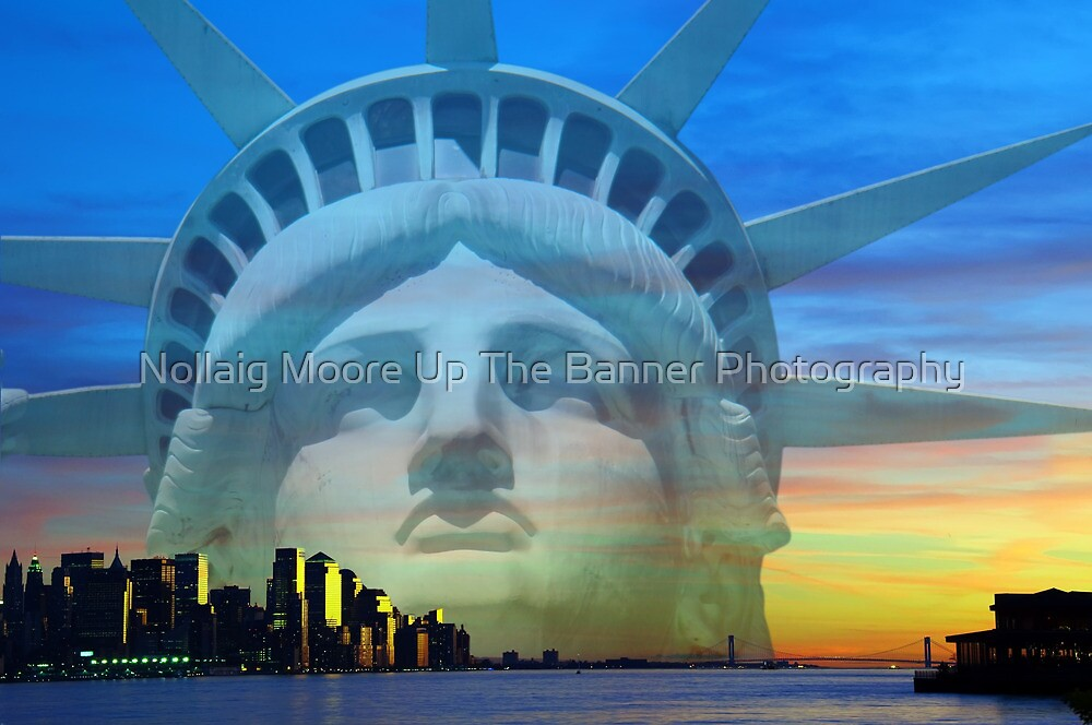 New York City Sunset Skyline Statue Liberty Hudson River by Noel Moore Up The Banner Photography