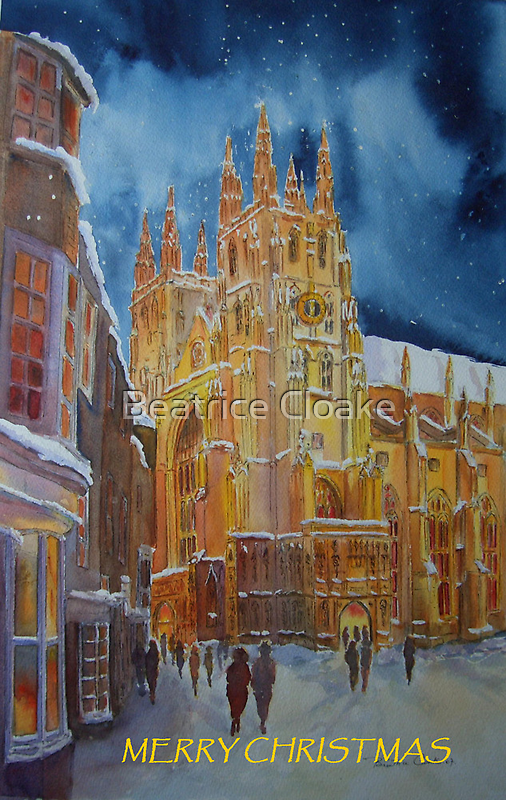 Christmas card, Canterbury cathedral by Beatrice Cloake Pasquier