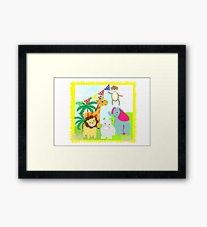 Kids Fun Cartoon Jungle Animals Framed Print