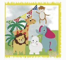 Kids Fun Cartoon Jungle Animals One Piece - Short Sleeve