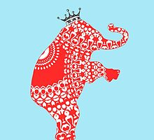 Cute Whimsy Elephant Orange Fancy Pattern by Artification