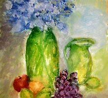 Blue Flowers, Purple Grapes and Limes by paulina13