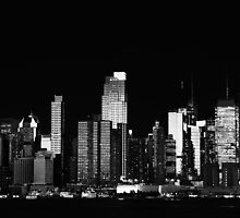 New York NYC Cityscape by Night, Black and White by upthebanner