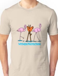 Chicken and flamingos witness protection geek funny nerd Unisex T-Shirt