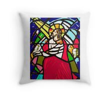 Jesus in Stained Glass Throw Pillow