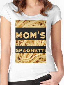 Mom's Spaghetti Print Women's Fitted Scoop T-Shirt