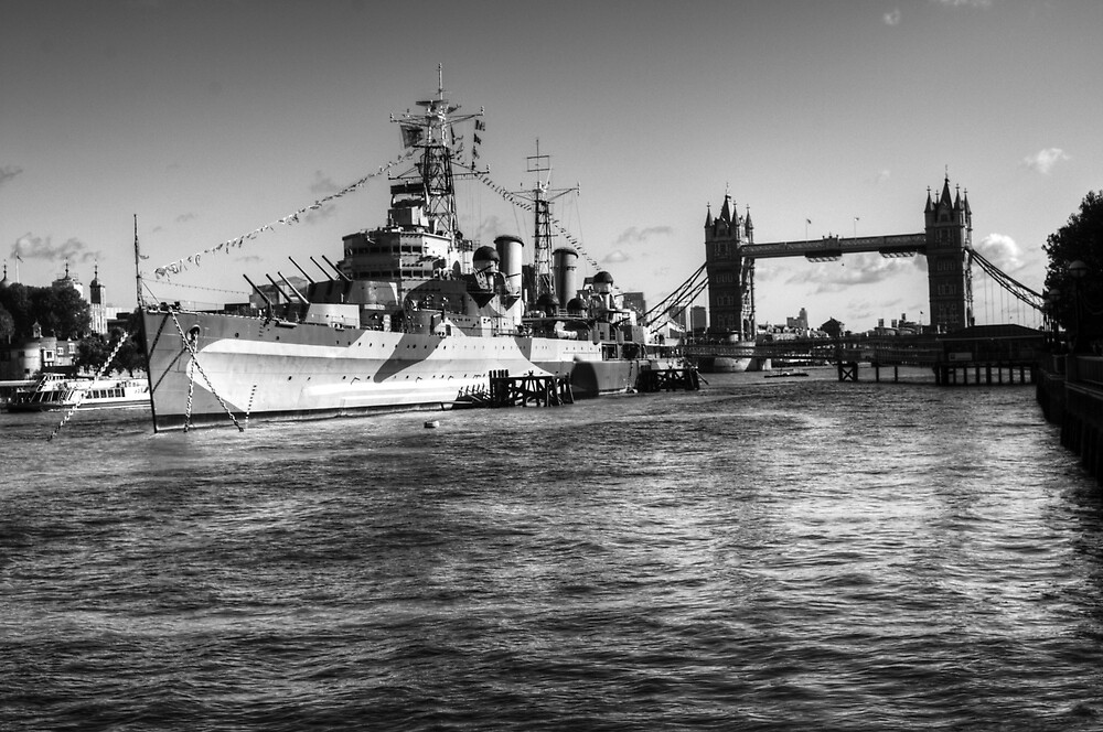 HMS Belfast and Tower Bridge 2 in Black and White by Chris Day