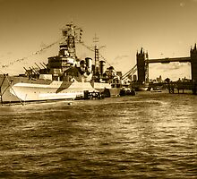 HMS Belfast and Tower Bridge 2 in Sepia by Chris Day