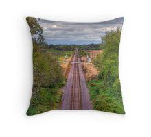 Tracks Ahead- a birdseye view Throw Pillow