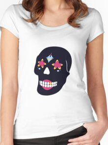 candy skull Women's Fitted Scoop T-Shirt