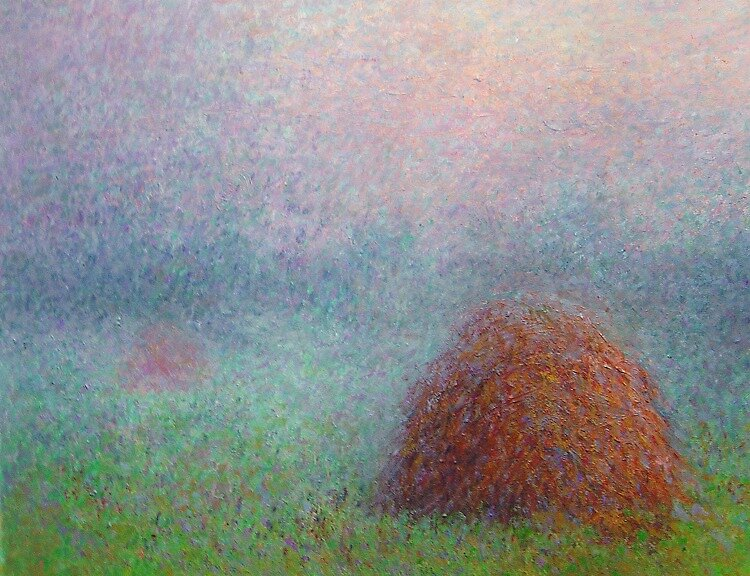 Haystacks before sunset by Julia Lesnichy