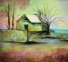 LITTLE HOUSE IN THE VALLEY-Watercolor painting by Esperanza Gallego