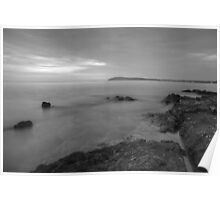 Dusk on the Adriatic sea in Black and White Poster