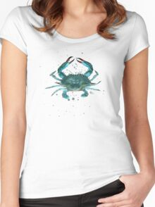 Blue Crab Watercolor Women's Fitted Scoop T-Shirt