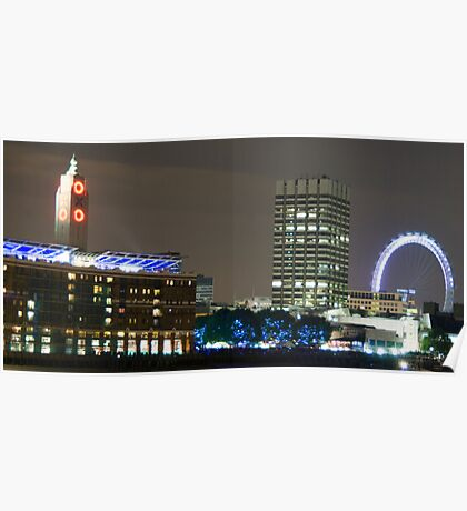 London Eye and Oxo Tower by night Poster