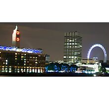 London Eye and Oxo Tower by night Photographic Print