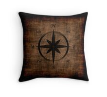 Nostalgic Old Compass Rose Design Throw Pillow