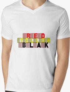 RED, YELLOW, BLAK [-0-] Mens V-Neck T-Shirt