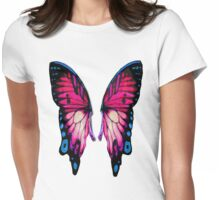 Pink Wings Butterfly Womens Fitted T-Shirt