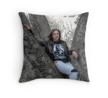Cat Stuck In A Tree Throw Pillow