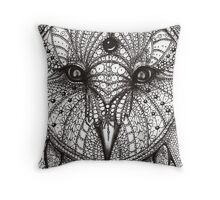 hand drawn portrait of an owl - black and white Throw Pillow