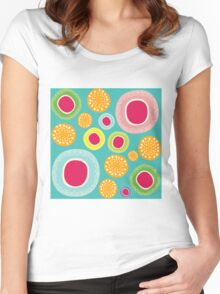 Fun Happy Circle flower Backround Women's Fitted Scoop T-Shirt
