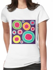 Happy Circle in Purple Background Womens Fitted T-Shirt
