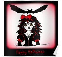 Little Goth Halloween Girl Poster